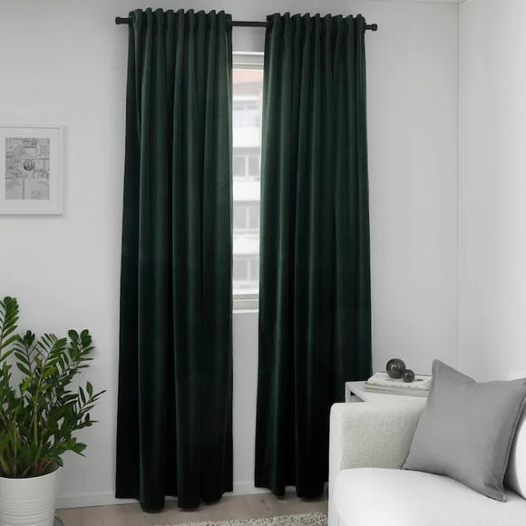 """SANELA Room darkening curtains dark green55x98 """""""